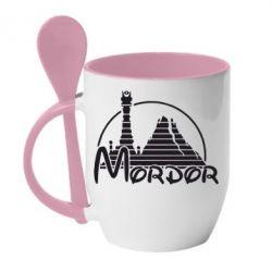 Кружка с керамической ложкой Mordor (Властелин Колец)