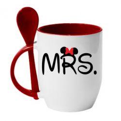 Кружка с керамической ложкой Mrs.