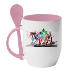 Кружка с керамической ложкой Мстители Арт - FatLine