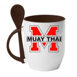Купить Кружка с керамической ложкой Muay Thai Big M, FatLine