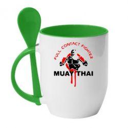 Кружка с керамической ложкой Muay Thai Full Contact - FatLine