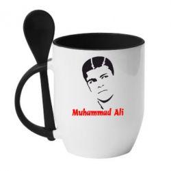 Кружка с керамической ложкой Muhammad Ali - FatLine