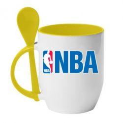 Кружка с керамической ложкой NBA Logo - FatLine