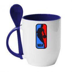 Кружка с керамической ложкой NBA - FatLine