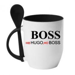 Кружка с керамической ложкой Не Hugo, но Boss - FatLine