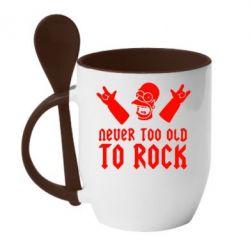 Кружка с керамической ложкой Never old to rock (Gomer) - FatLine