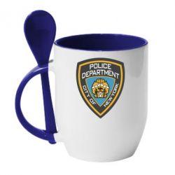 Кружка с керамической ложкой New York Police Department - FatLine