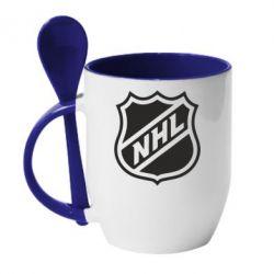 Кружка с керамической ложкой NHL - FatLine