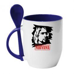 Кружка с керамической ложкой Nirvana Kurt Cobian - FatLine