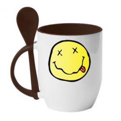 Кружка с керамической ложкой Nirvana Logo 3D - FatLine