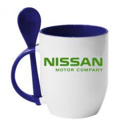 Кружка с керамической ложкой Nissan Motor Company - FatLine