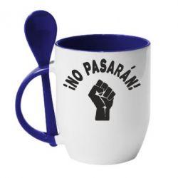 Кружка с керамической ложкой No Pasaran - FatLine