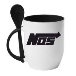 Кружка с керамической ложкой Nos - FatLine