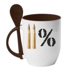 Кружка с керамической ложкой Одинадцать процентов - FatLine