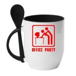 Кружка с керамической ложкой Office Party - FatLine