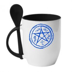 Кружка с керамической ложкой Оккультный символ Сверхъестественное - FatLine