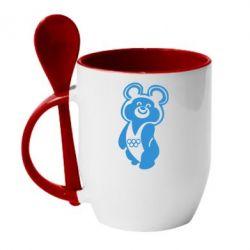 Кружка с керамической ложкой Олимпийский Мишка - FatLine