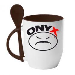 Кружка с керамической ложкой Onyx - FatLine