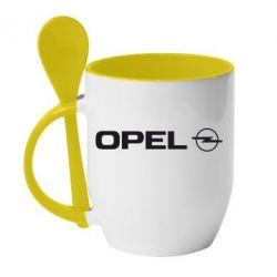 Кружка с керамической ложкой Opel Logo - FatLine
