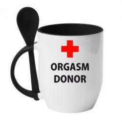 Кружка с керамической ложкой Orgasm Donor - FatLine