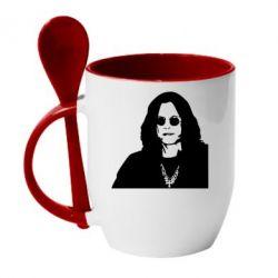 Кружка с керамической ложкой Ozzy Osbourne face - FatLine