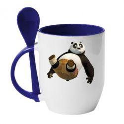 Кружка с керамической ложкой Падающая Панда - FatLine
