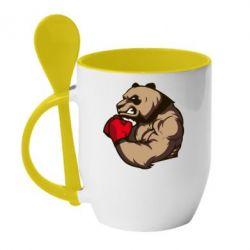 Кружка с керамической ложкой Panda Boxing - FatLine