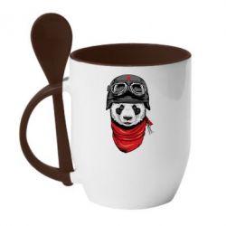 Кружка с керамической ложкой Панда в каске - FatLine