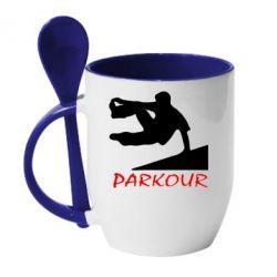 Кружка с керамической ложкой Parkour Run