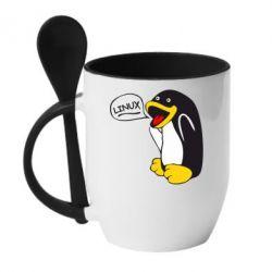 Кружка с керамической ложкой Пингвин Линукс - FatLine