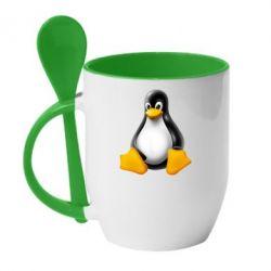 Кружка с керамической ложкой Пингвин Linux - FatLine