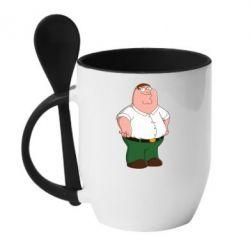 Кружка с керамической ложкой Питер Гриффин - FatLine