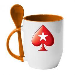 Кружка с керамической ложкой Poker Stars 3D Logo - FatLine