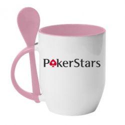 Кружка с керамической ложкой Покер Старс - FatLine