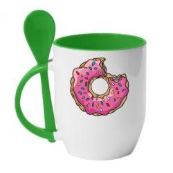 Кружка с керамической ложкой Пончик - FatLine