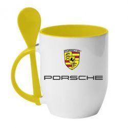 Кружка с керамической ложкой Porsche