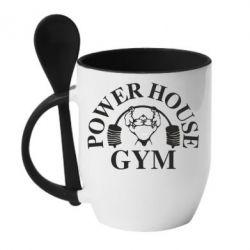 Кружка с керамической ложкой Power House Gym - FatLine