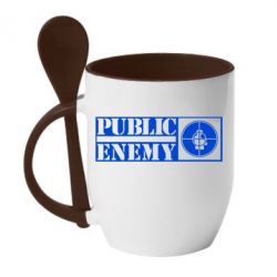 Кружка с керамической ложкой Public Enemy