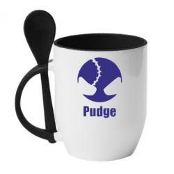 Кружка с керамической ложкой Pudge - FatLine