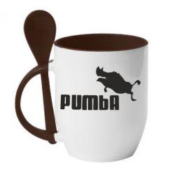 Кружка з керамічною ложкою Pumba