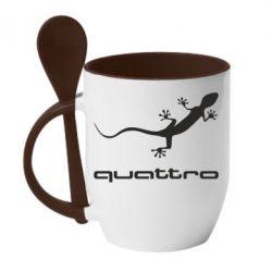 Кружка с керамической ложкой Quattro - FatLine