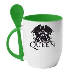 Кружка с керамической ложкой Queen - FatLine