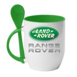 Кружка с керамической ложкой Range Rover Logo Metalic - FatLine