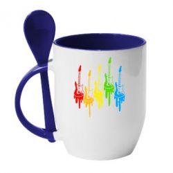 Кружка с керамической ложкой Разноцветные гитары - FatLine