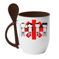 Кружка с керамической ложкой Red Hot Chili Peppers Group - FatLine