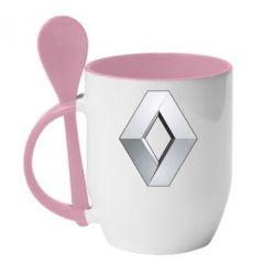 Кружка с керамической ложкой Renault Logo - FatLine