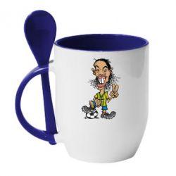 Кружка с керамической ложкой Ronaldinho - FatLine