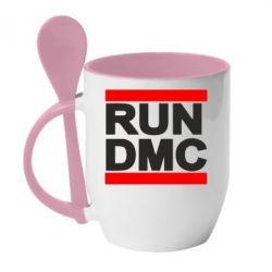 Кружка с керамической ложкой RUN DMC - FatLine