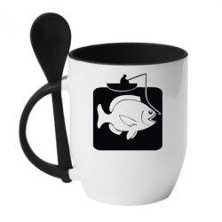 Кружка с керамической ложкой Рыба на крючке - FatLine
