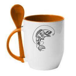 Кружка с керамической ложкой Рыба - FatLine